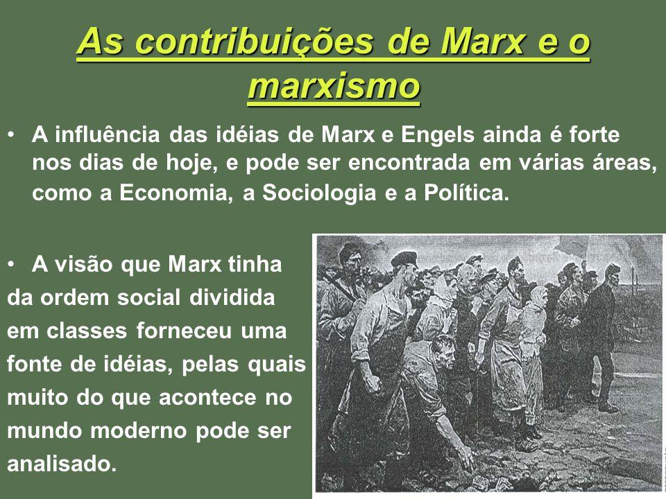 As contribuições de Marx e o marxismo