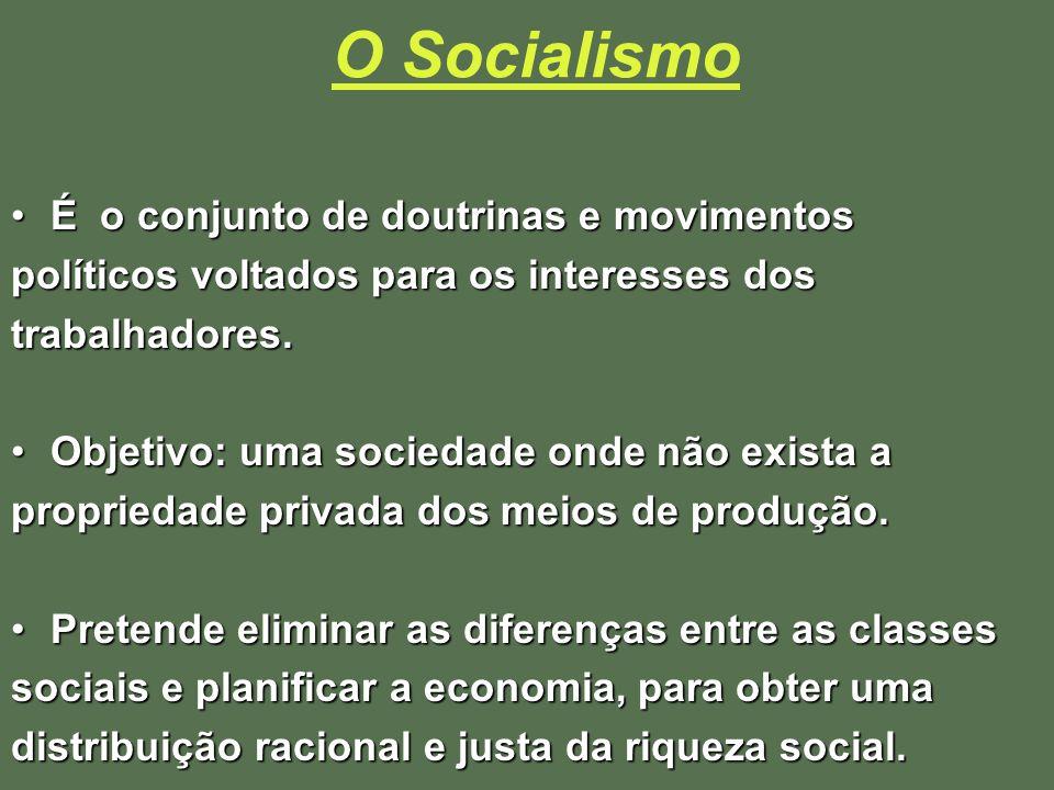 O Socialismo É o conjunto de doutrinas e movimentos