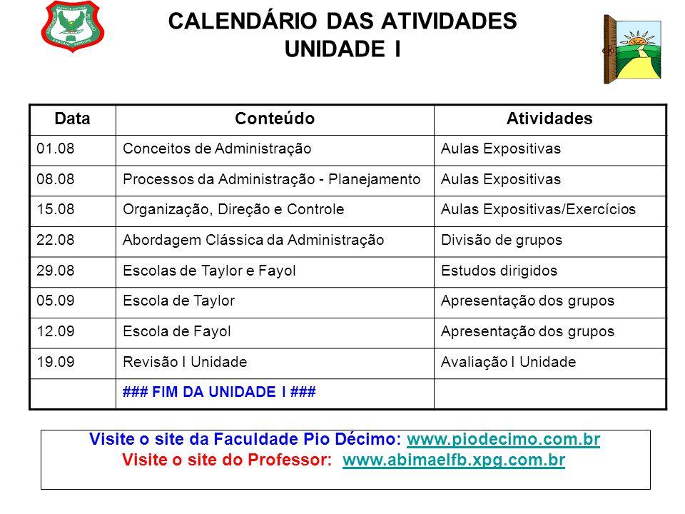 CALENDÁRIO DAS ATIVIDADES UNIDADE I