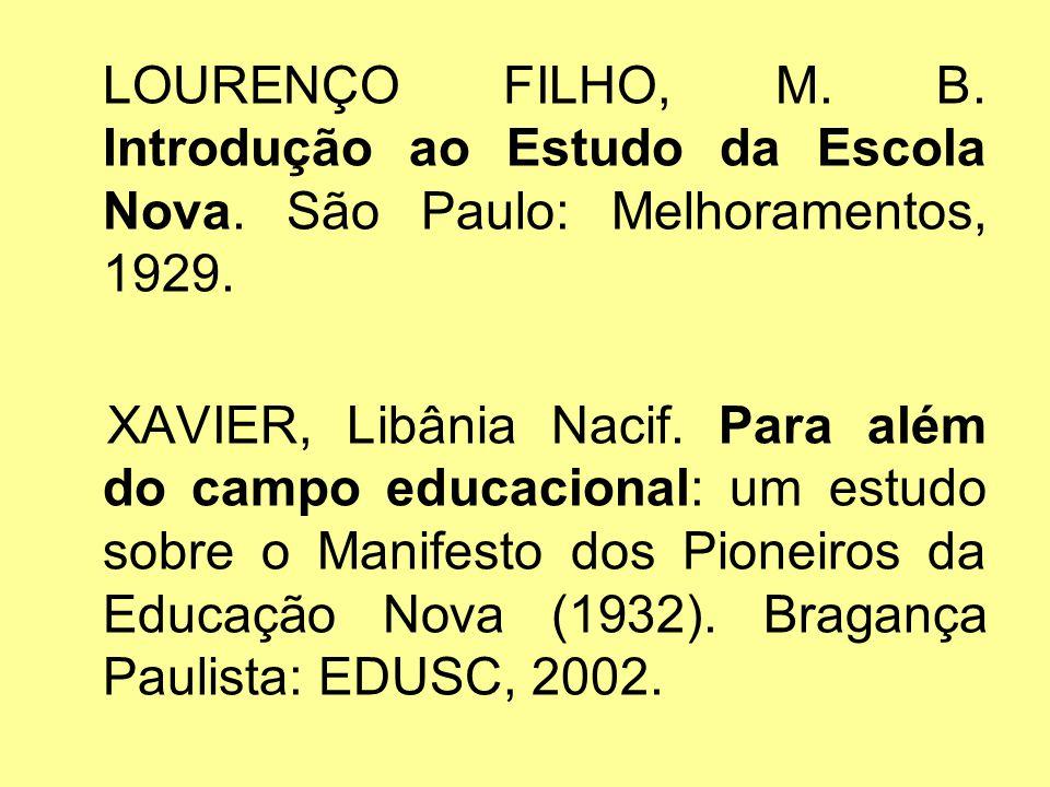 LOURENÇO FILHO, M. B. Introdução ao Estudo da Escola Nova
