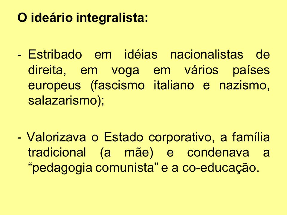 O ideário integralista: