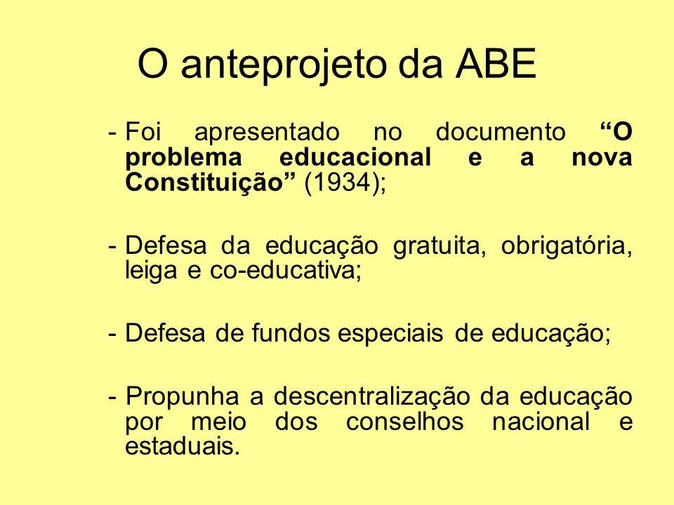 O anteprojeto da ABE Foi apresentado no documento O problema educacional e a nova Constituição (1934);