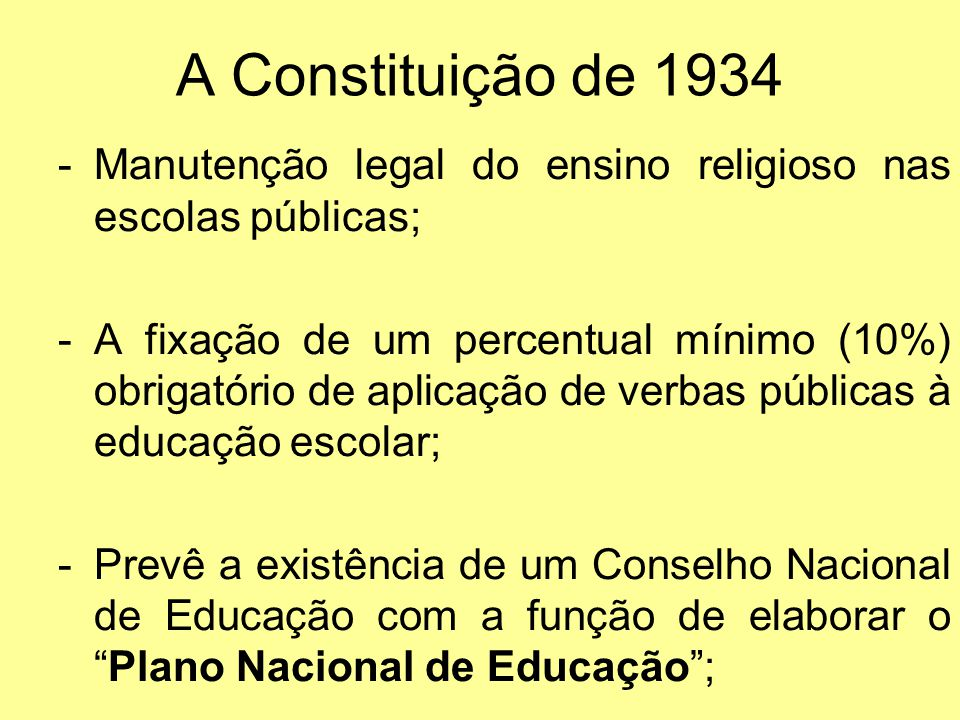 A Constituição de 1934 Manutenção legal do ensino religioso nas escolas públicas;