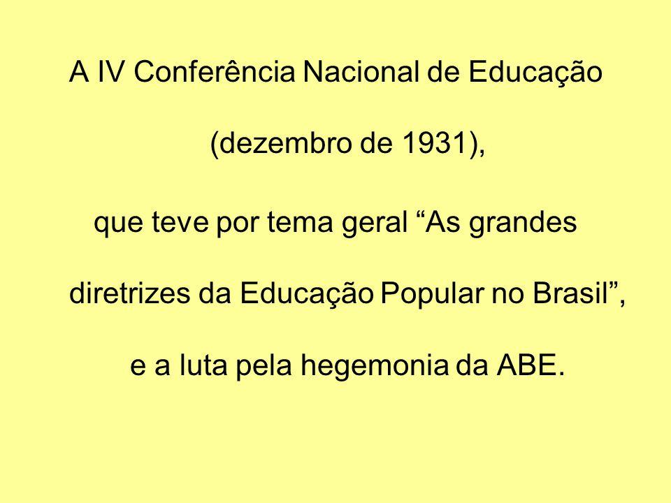 A IV Conferência Nacional de Educação (dezembro de 1931),