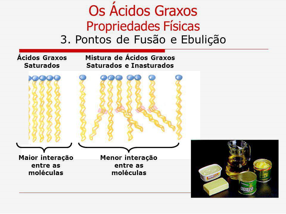 Os Ácidos Graxos Propriedades Físicas 3. Pontos de Fusão e Ebulição