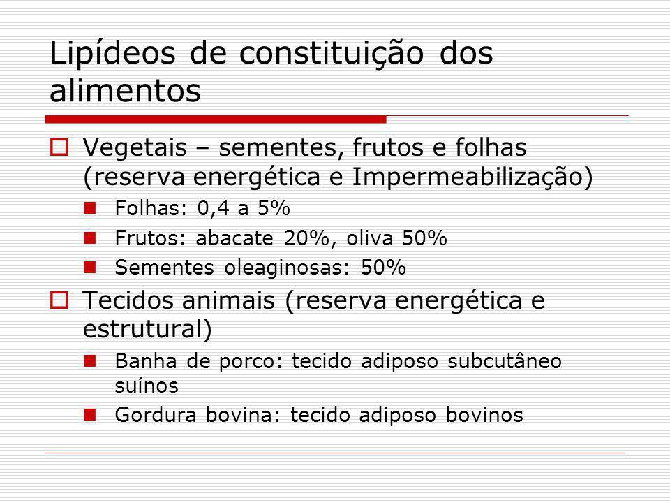 Lipídeos de constituição dos alimentos