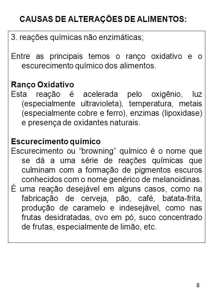 CAUSAS DE ALTERAÇÕES DE ALIMENTOS: