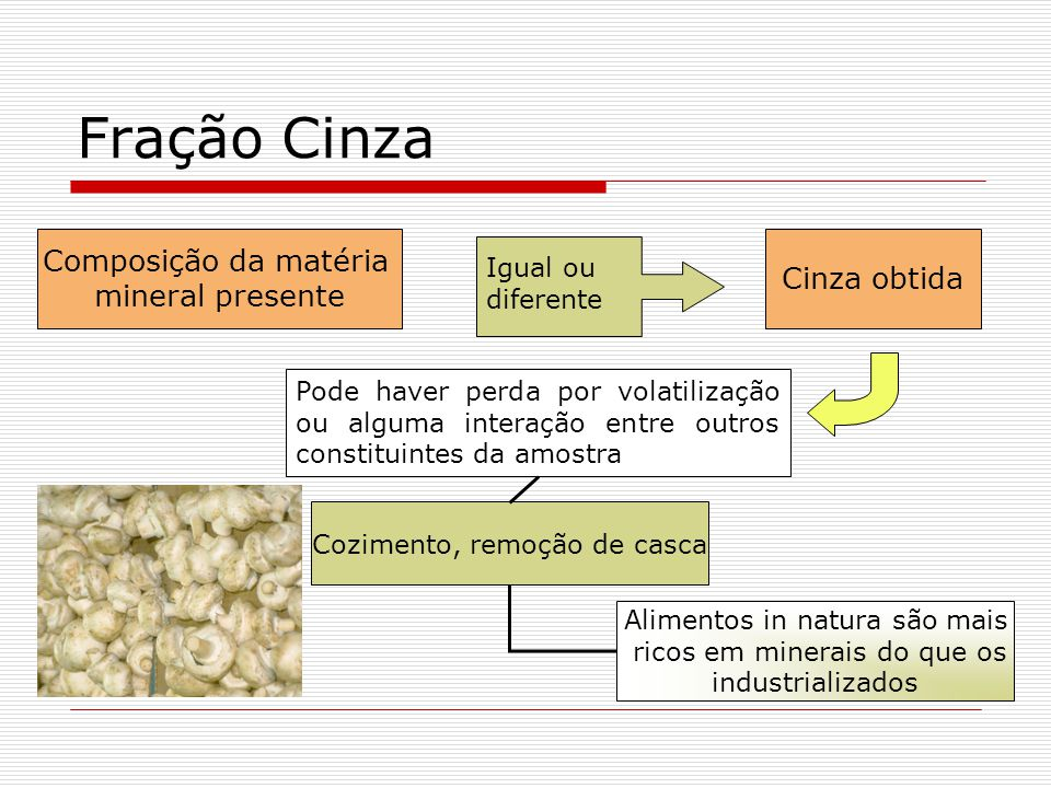Fração Cinza Composição da matéria Cinza obtida mineral presente