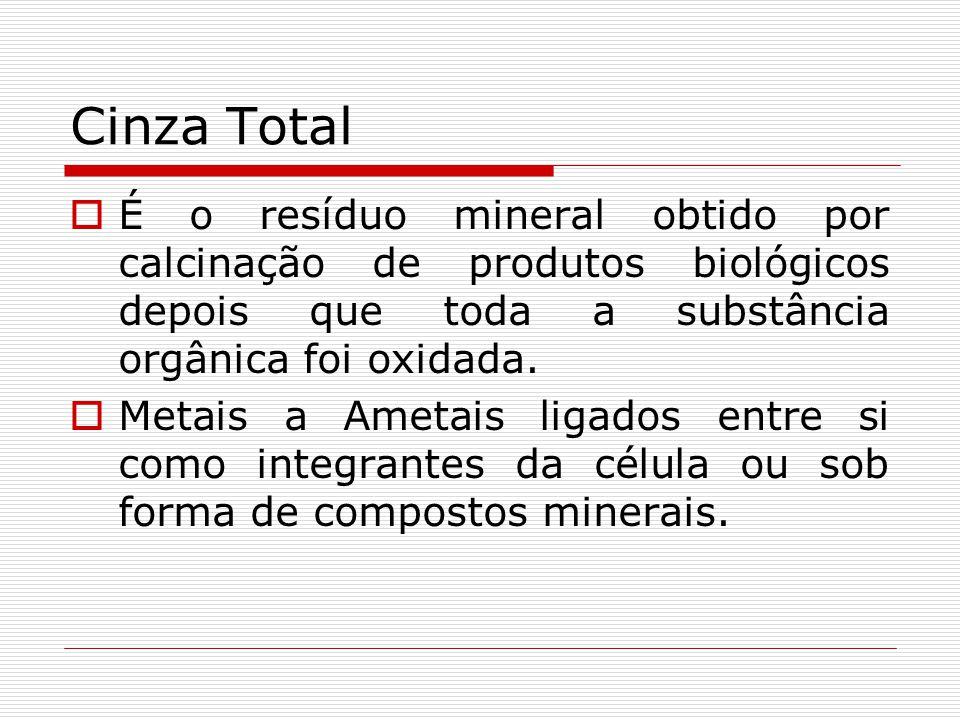 Cinza Total É o resíduo mineral obtido por calcinação de produtos biológicos depois que toda a substância orgânica foi oxidada.