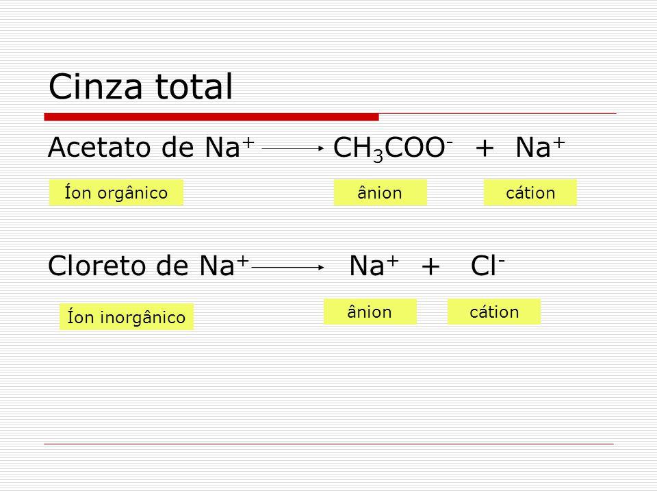 Cinza total Acetato de Na+ CH3COO- + Na+ Cloreto de Na+ Na+ + Cl-