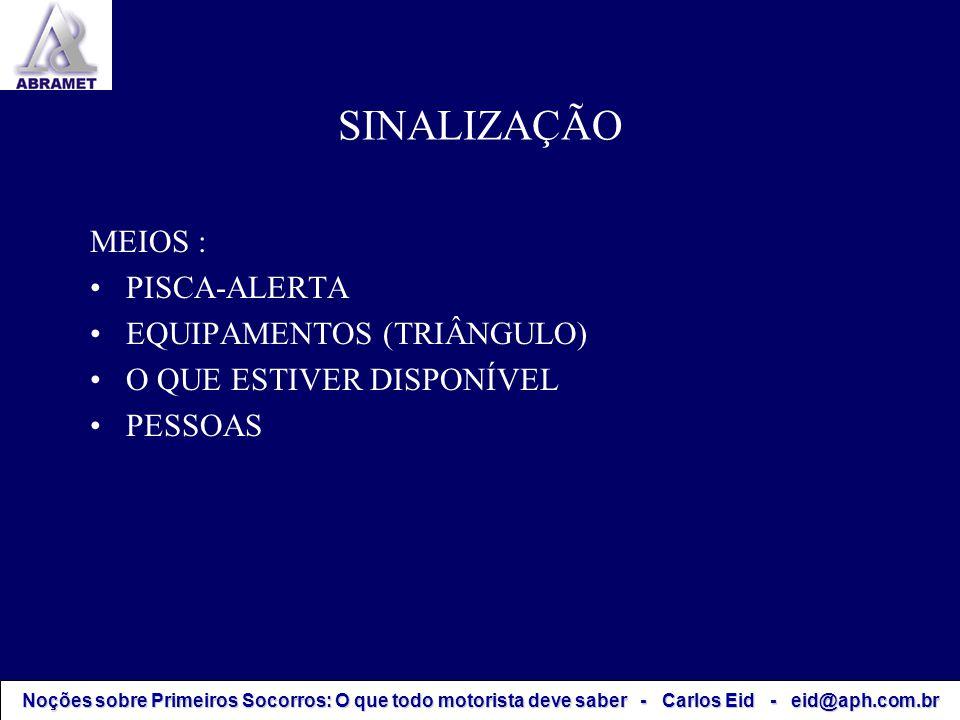 SINALIZAÇÃO MEIOS : PISCA-ALERTA EQUIPAMENTOS (TRIÂNGULO)