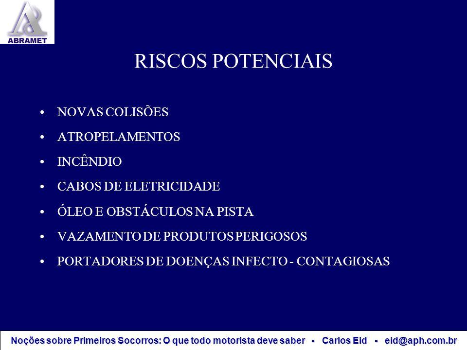 RISCOS POTENCIAIS NOVAS COLISÕES ATROPELAMENTOS INCÊNDIO