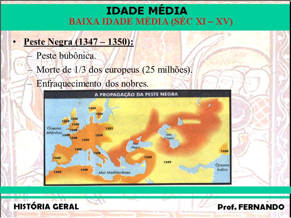 Peste Negra (1347 – 1350): Peste bubônica. Morte de 1/3 dos europeus (25 milhões).