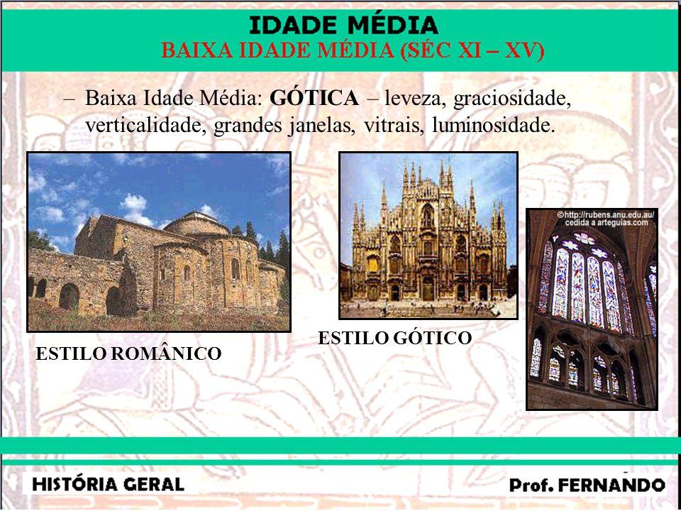 Baixa Idade Média: GÓTICA – leveza, graciosidade, verticalidade, grandes janelas, vitrais, luminosidade.