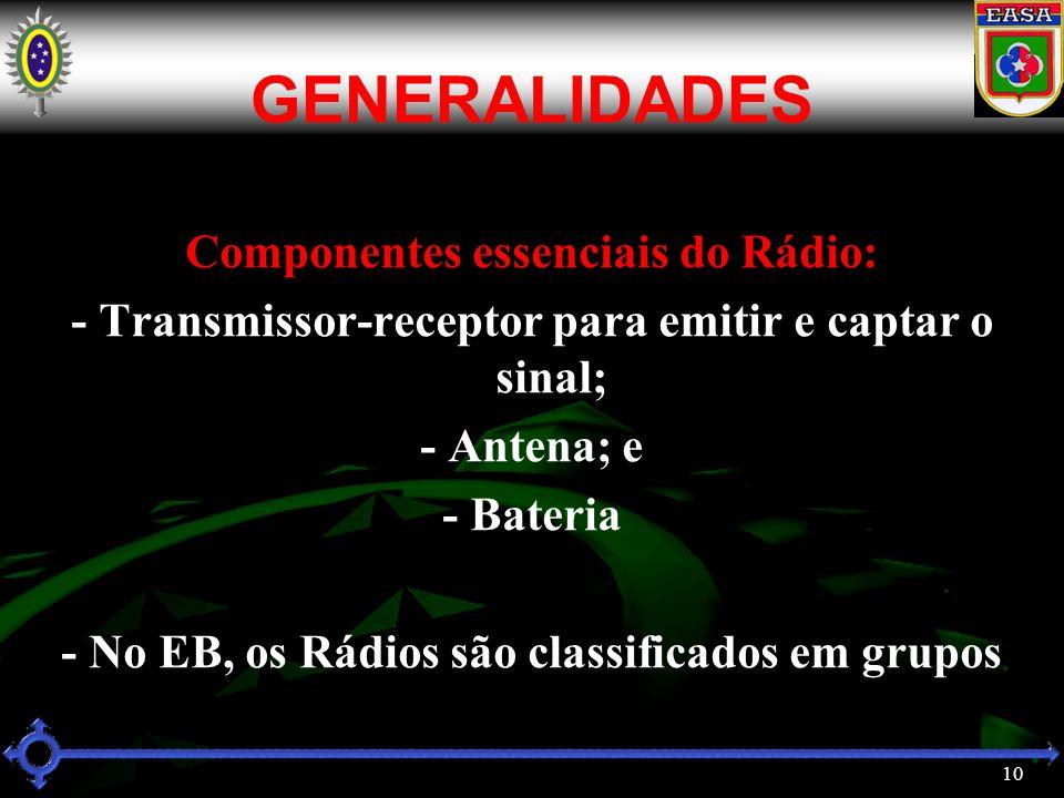 GENERALIDADES Componentes essenciais do Rádio: