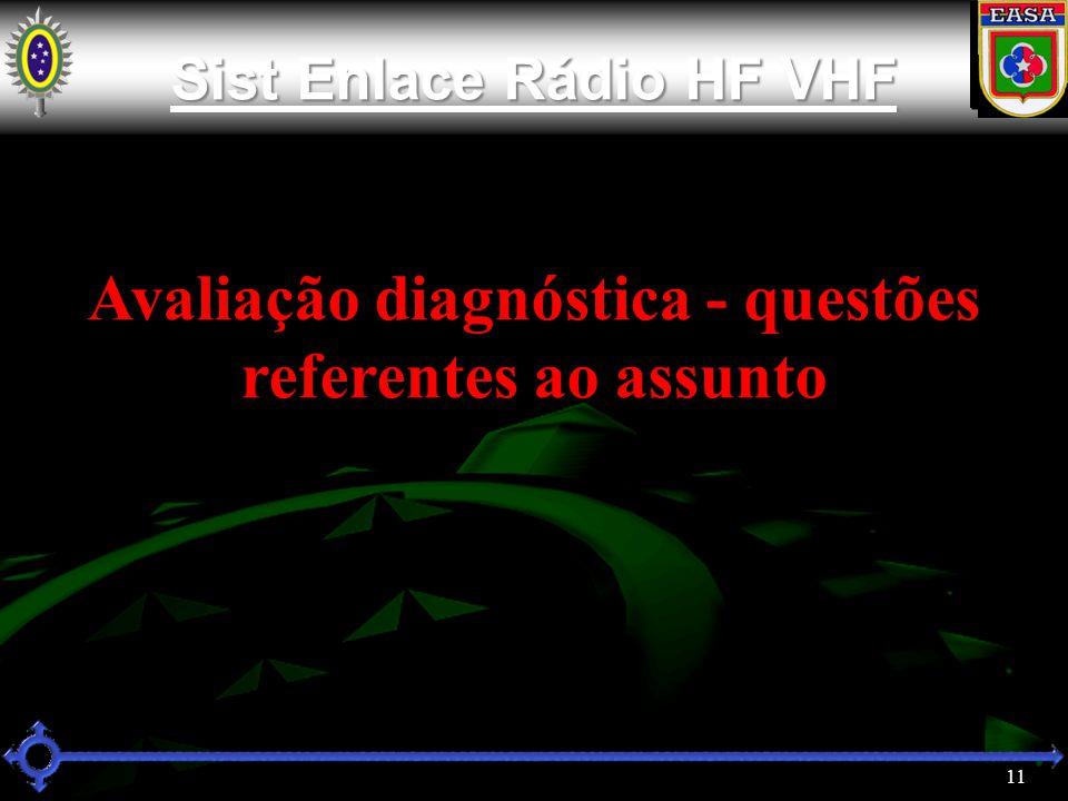 Avaliação diagnóstica - questões referentes ao assunto