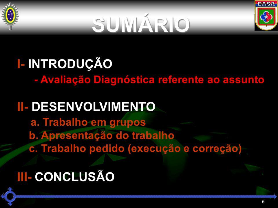 SUMÁRIO I- INTRODUÇÃO - Avaliação Diagnóstica referente ao assunto