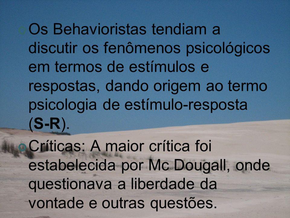 Os Behavioristas tendiam a discutir os fenômenos psicológicos em termos de estímulos e respostas, dando origem ao termo psicologia de estímulo-resposta (S-R).