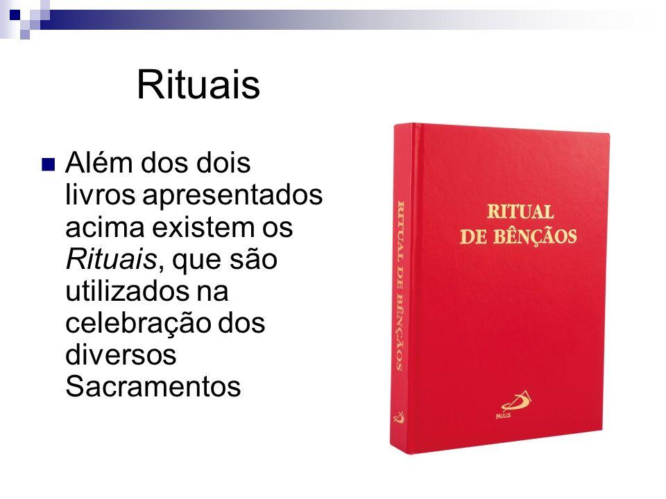 Rituais Além dos dois livros apresentados acima existem os Rituais, que são utilizados na celebração dos diversos Sacramentos.