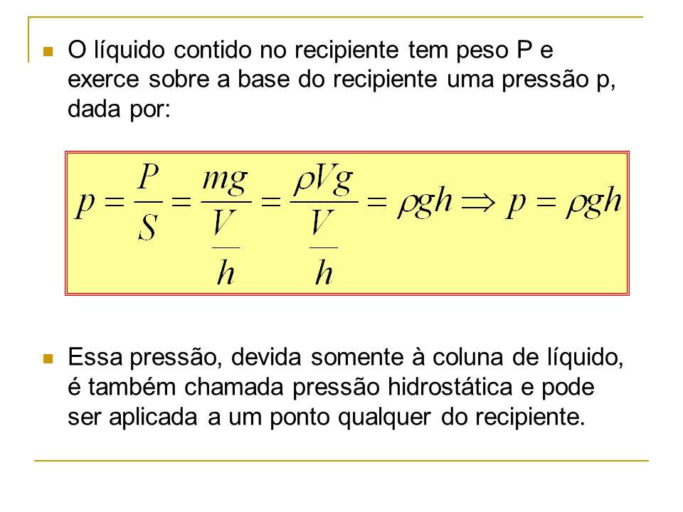 O líquido contido no recipiente tem peso P e exerce sobre a base do recipiente uma pressão p, dada por: