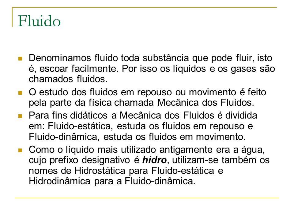 Fluido Denominamos fluido toda substância que pode fluir, isto é, escoar facilmente. Por isso os líquidos e os gases são chamados fluidos.