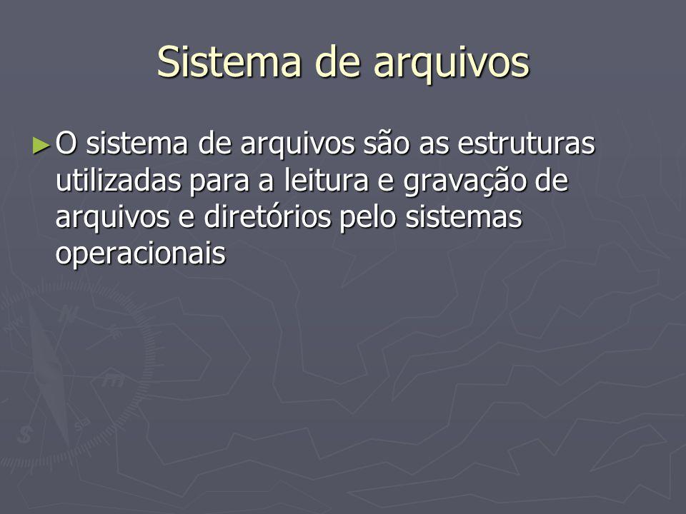 Sistema de arquivos O sistema de arquivos são as estruturas utilizadas para a leitura e gravação de arquivos e diretórios pelo sistemas operacionais.