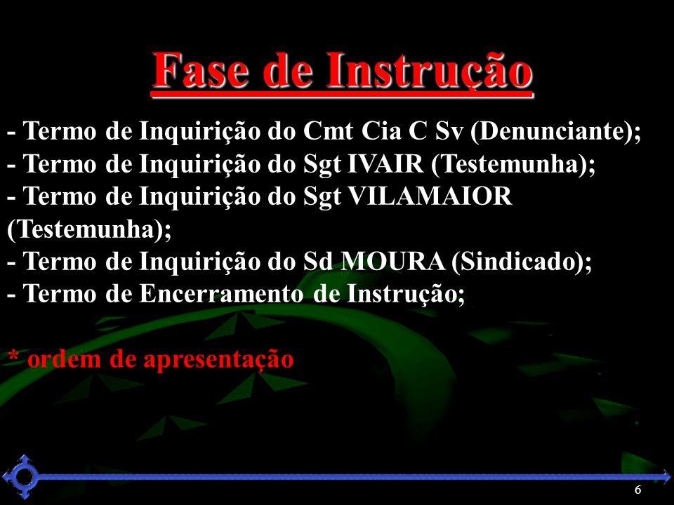 Fase de Instrução - Termo de Inquirição do Cmt Cia C Sv (Denunciante);