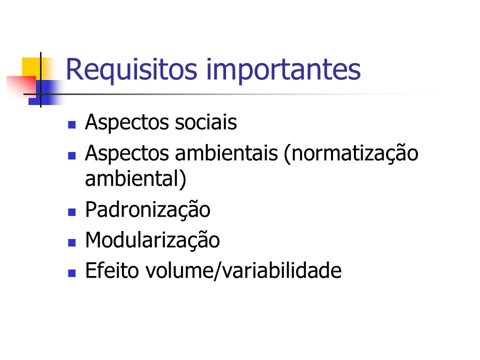 Requisitos importantes
