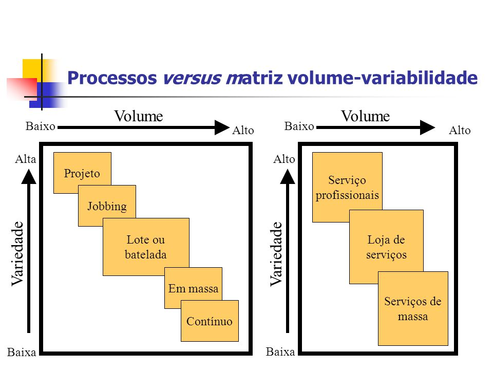 Processos versus matriz volume-variabilidade