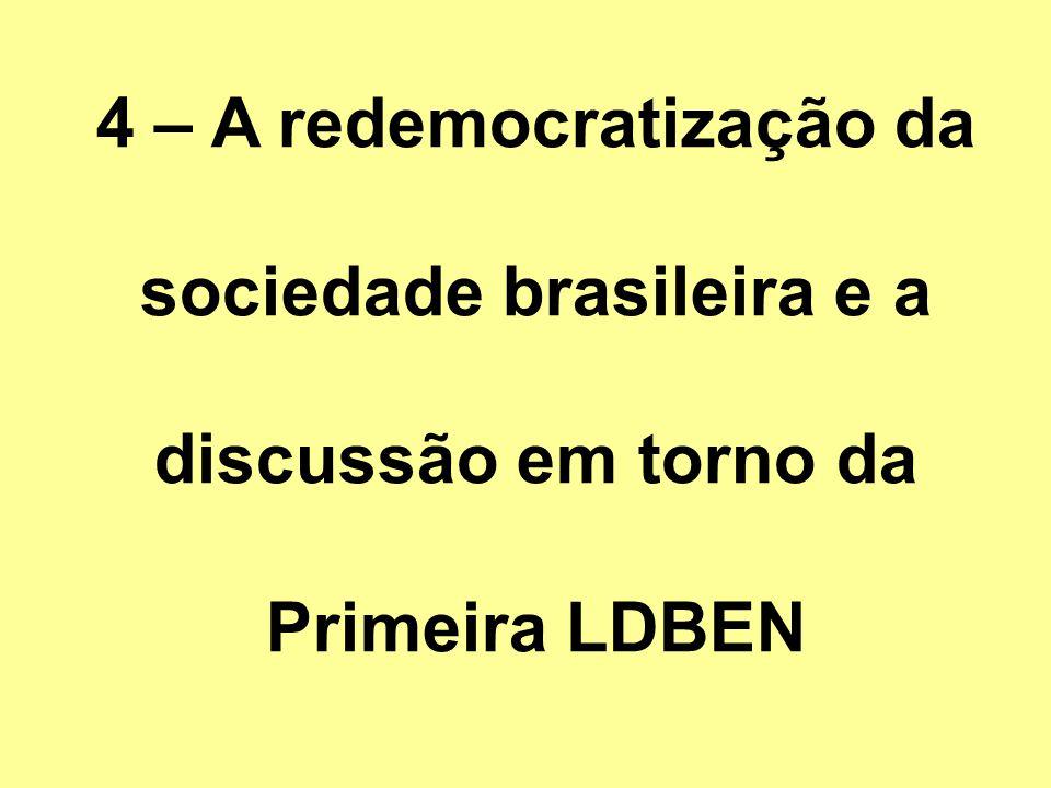 4 – A redemocratização da sociedade brasileira e a discussão em torno da Primeira LDBEN