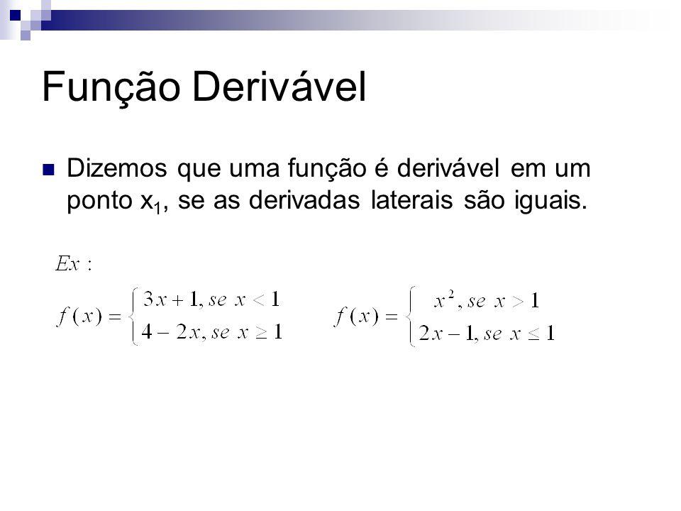 Função Derivável Dizemos que uma função é derivável em um ponto x1, se as derivadas laterais são iguais.
