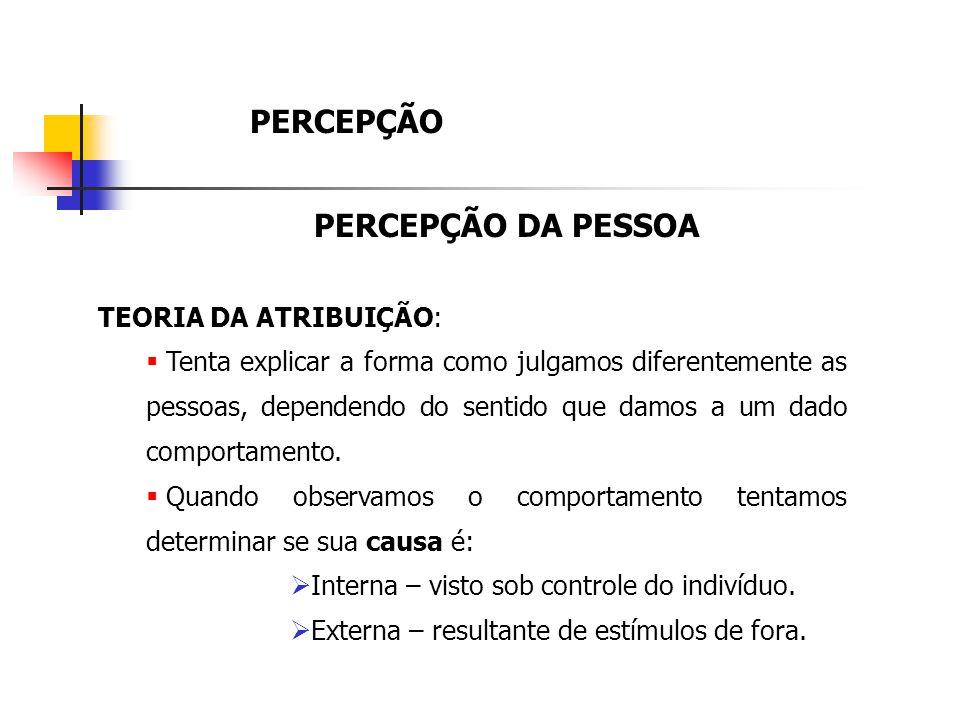 PERCEPÇÃO PERCEPÇÃO DA PESSOA TEORIA DA ATRIBUIÇÃO:
