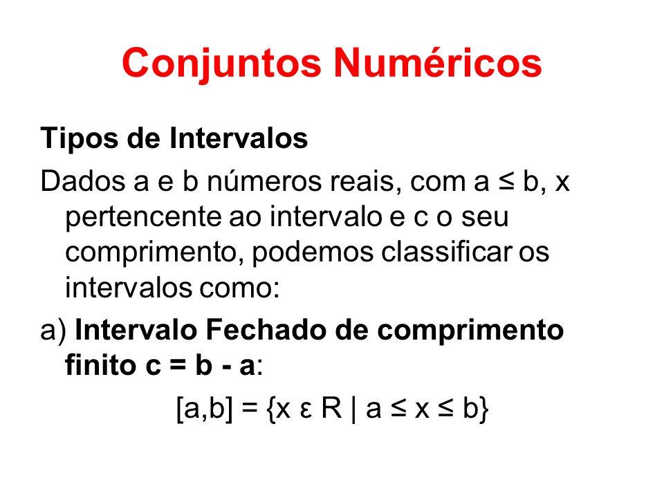 Conjuntos Numéricos Tipos de Intervalos