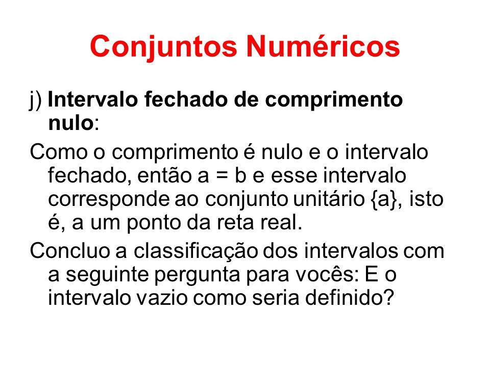 Conjuntos Numéricos j) Intervalo fechado de comprimento nulo: