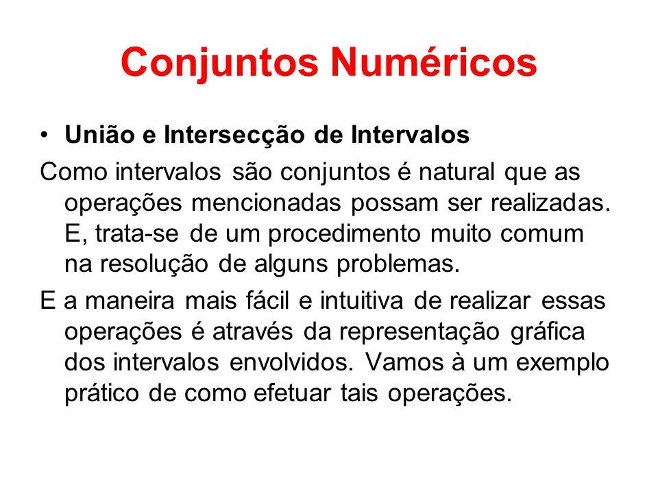 Conjuntos Numéricos União e Intersecção de Intervalos