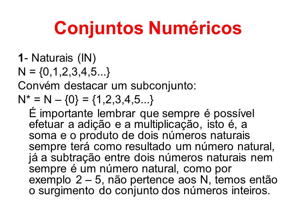 Conjuntos Numéricos 1- Naturais (IN) N = {0,1,2,3,4,5...}