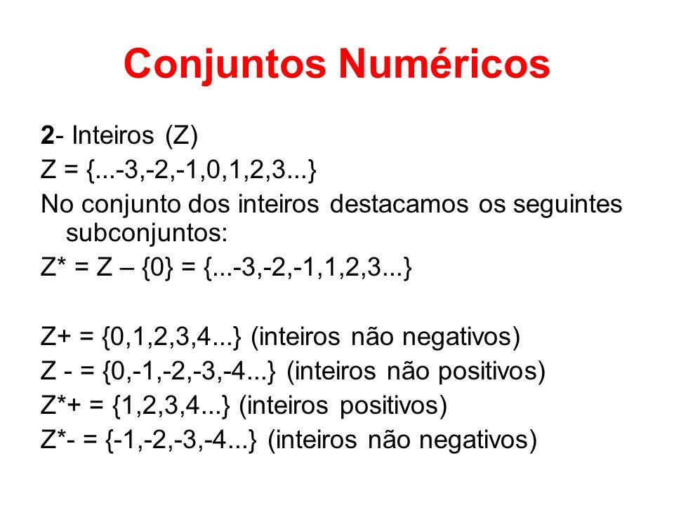 Conjuntos Numéricos 2- Inteiros (Z) Z = {...-3,-2,-1,0,1,2,3...}