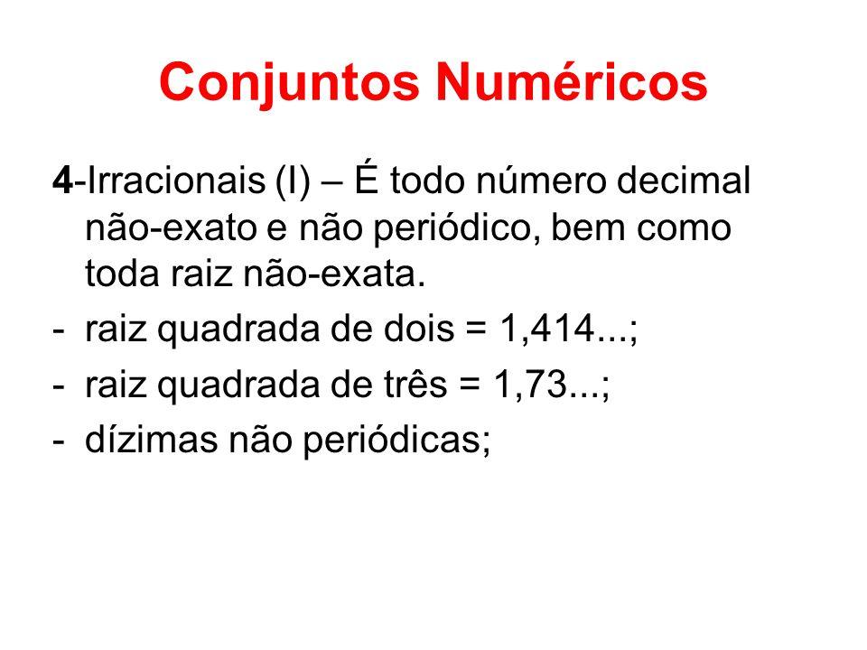 Conjuntos Numéricos 4-Irracionais (I) – É todo número decimal não-exato e não periódico, bem como toda raiz não-exata.