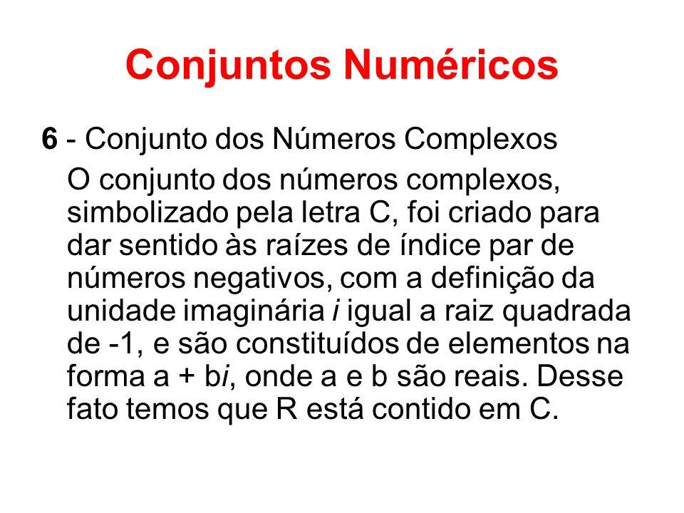 Conjuntos Numéricos 6 - Conjunto dos Números Complexos
