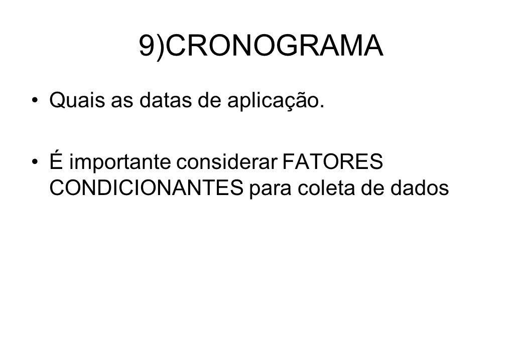 9)CRONOGRAMA Quais as datas de aplicação.