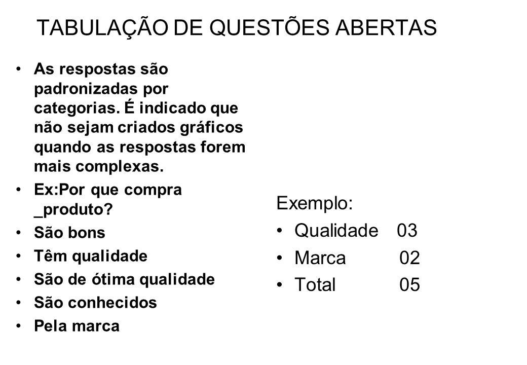 TABULAÇÃO DE QUESTÕES ABERTAS