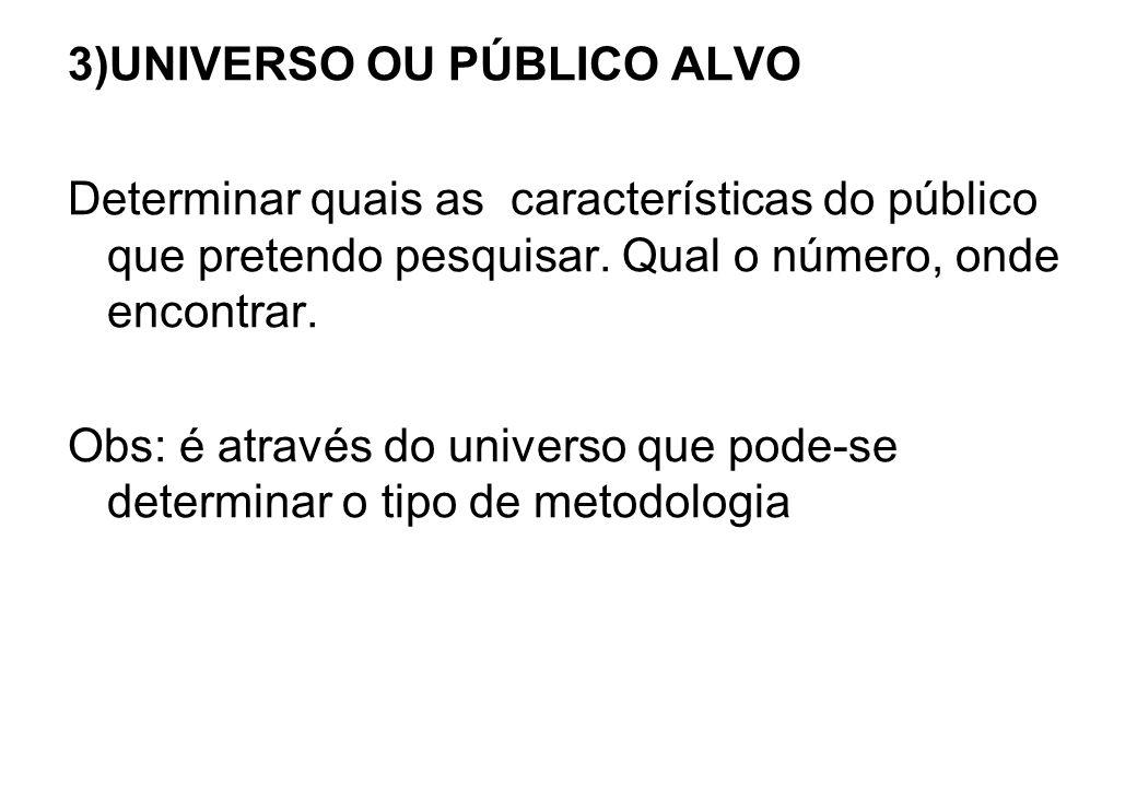 3)UNIVERSO OU PÚBLICO ALVO