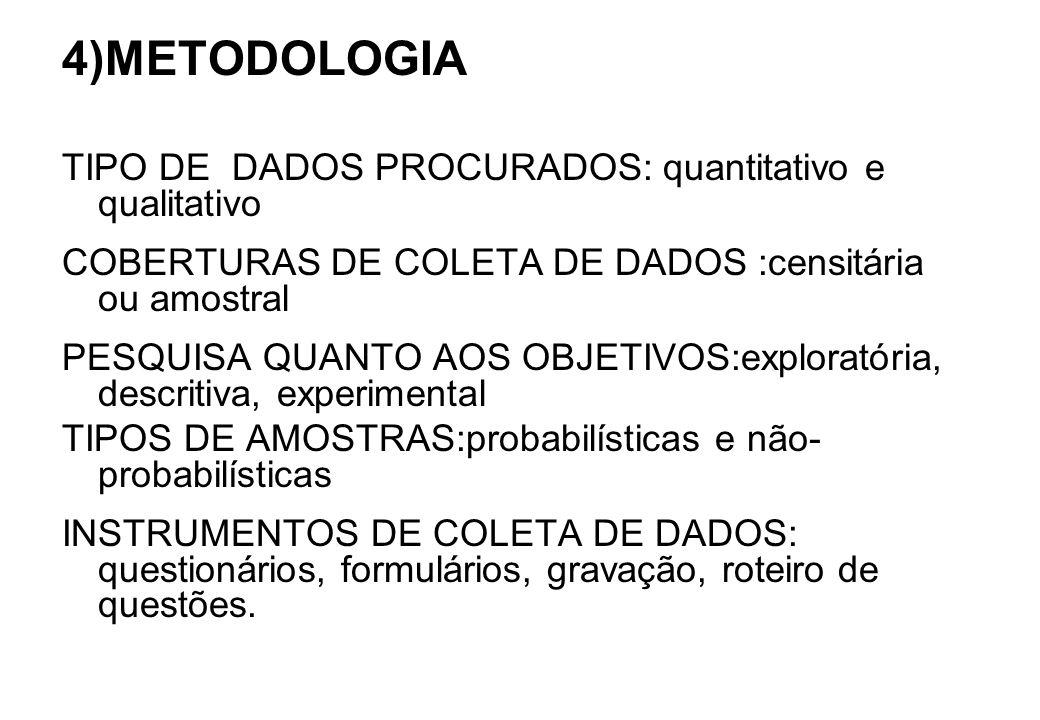 4)METODOLOGIA TIPO DE DADOS PROCURADOS: quantitativo e qualitativo