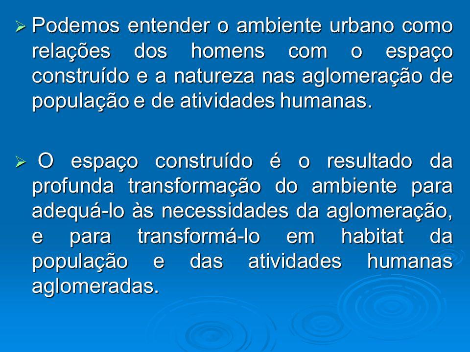 Podemos entender o ambiente urbano como relações dos homens com o espaço construído e a natureza nas aglomeração de população e de atividades humanas.