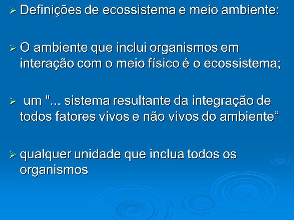Definições de ecossistema e meio ambiente: