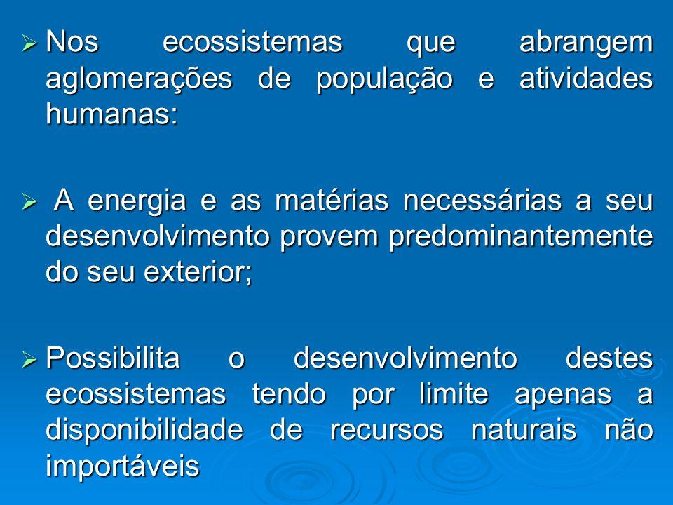 Nos ecossistemas que abrangem aglomerações de população e atividades humanas: