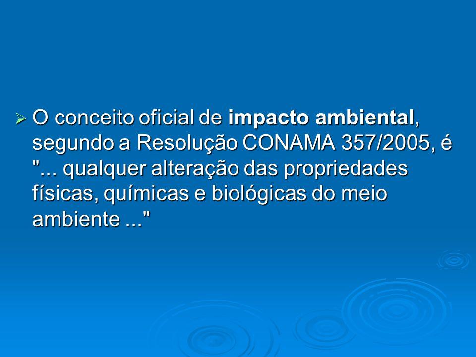 O conceito oficial de impacto ambiental, segundo a Resolução CONAMA 357/2005, é ...