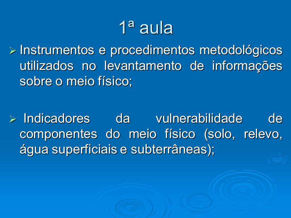 1ª aula Instrumentos e procedimentos metodológicos utilizados no levantamento de informações sobre o meio físico;
