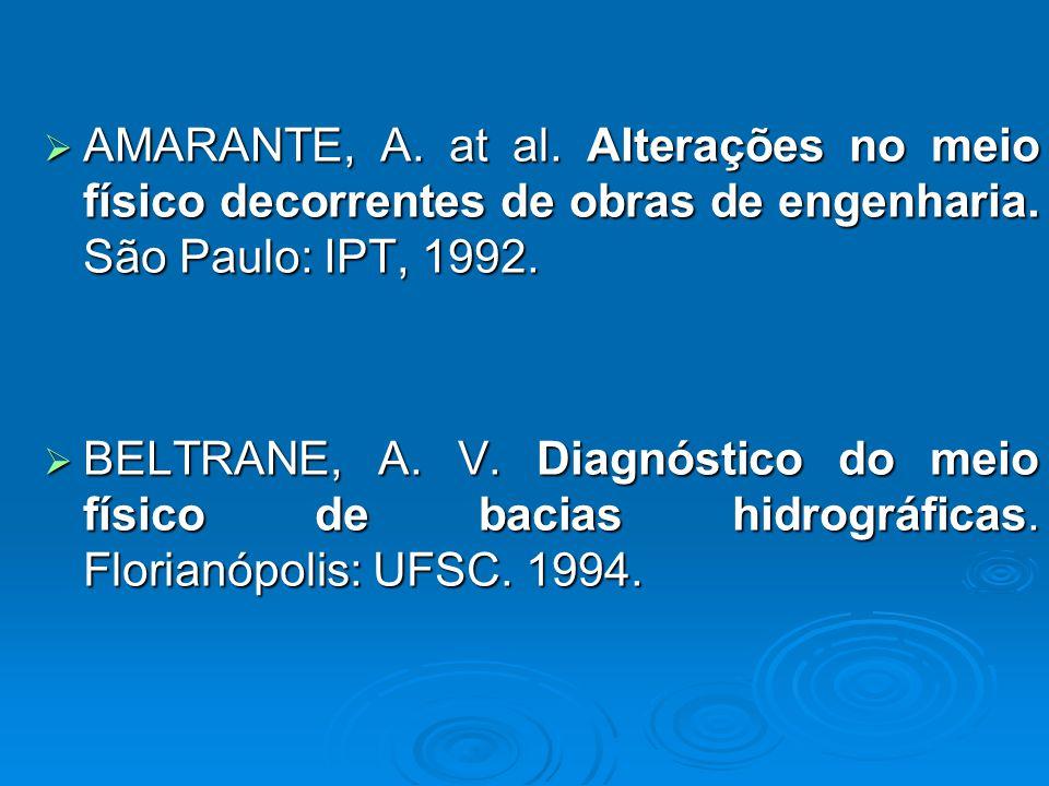 AMARANTE, A. at al. Alterações no meio físico decorrentes de obras de engenharia. São Paulo: IPT, 1992.