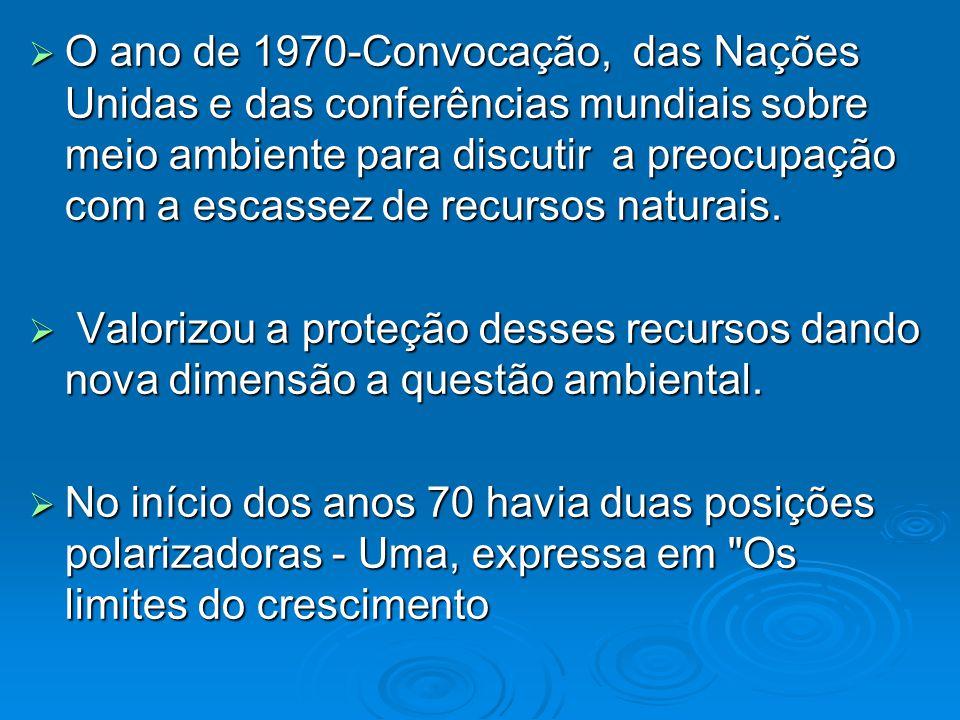 O ano de 1970-Convocação, das Nações Unidas e das conferências mundiais sobre meio ambiente para discutir a preocupação com a escassez de recursos naturais.